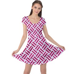 Woven2 White Marble & Pink Leather (r) Cap Sleeve Dress