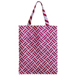Woven2 White Marble & Pink Leather (r) Zipper Classic Tote Bag