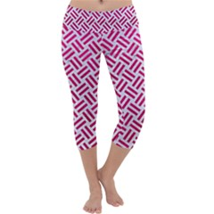 Woven2 White Marble & Pink Leather (r) Capri Yoga Leggings