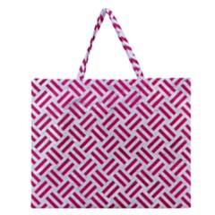 Woven2 White Marble & Pink Leather (r) Zipper Large Tote Bag