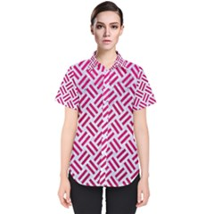 Woven2 White Marble & Pink Leather (r) Women s Short Sleeve Shirt