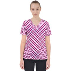 Woven2 White Marble & Pink Leather (r) Scrub Top