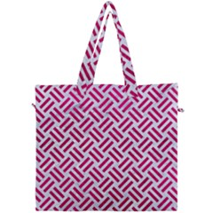 Woven2 White Marble & Pink Leather (r) Canvas Travel Bag by trendistuff