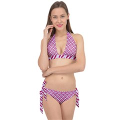 Woven2 White Marble & Pink Leather (r) Tie It Up Bikini Set