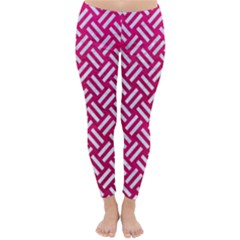 Woven2 White Marble & Pink Leather Classic Winter Leggings