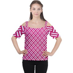 Woven2 White Marble & Pink Leather Cutout Shoulder Tee