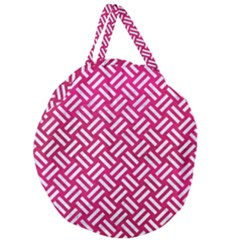 Woven2 White Marble & Pink Leather Giant Round Zipper Tote