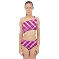 Woven2 White Marble & Pink Leather Spliced Up Two Piece Swimsuit