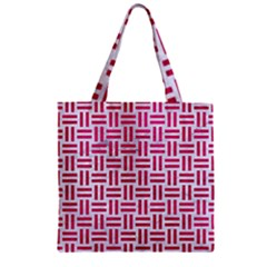 Woven1 White Marble & Pink Leather (r) Zipper Grocery Tote Bag
