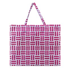 Woven1 White Marble & Pink Leather (r) Zipper Large Tote Bag