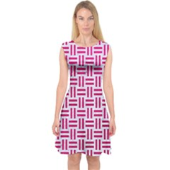 Woven1 White Marble & Pink Leather (r) Capsleeve Midi Dress