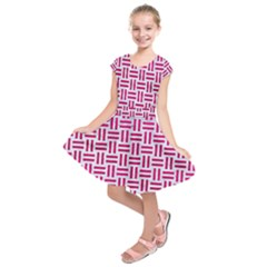 Woven1 White Marble & Pink Leather (r) Kids  Short Sleeve Dress