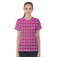 Woven1 White Marble & Pink Leather Women s Cotton Tee