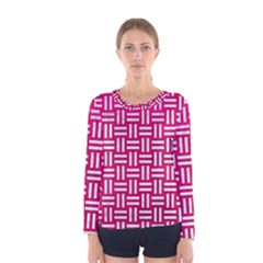 Woven1 White Marble & Pink Leather Women s Long Sleeve Tee