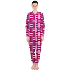 Woven1 White Marble & Pink Leather Onepiece Jumpsuit (ladies)