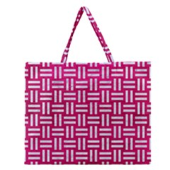 Woven1 White Marble & Pink Leather Zipper Large Tote Bag