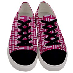 Woven1 White Marble & Pink Leather Men s Low Top Canvas Sneakers