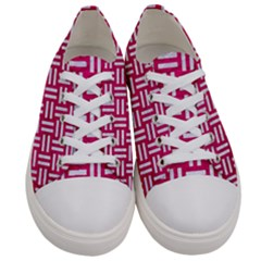 Woven1 White Marble & Pink Leather Women s Low Top Canvas Sneakers