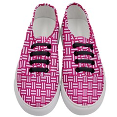 Woven1 White Marble & Pink Leather Women s Classic Low Top Sneakers