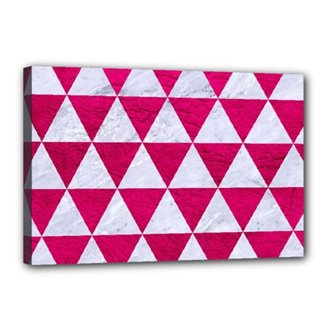 Triangle3 White Marble & Pink Leather Canvas 18  X 12