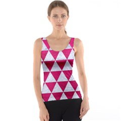 Triangle3 White Marble & Pink Leather Tank Top