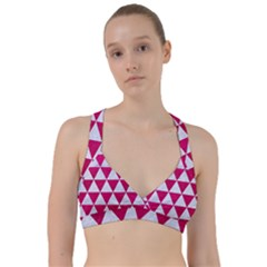 Triangle3 White Marble & Pink Leather Sweetheart Sports Bra