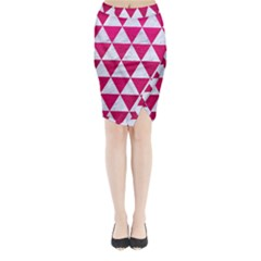 Triangle3 White Marble & Pink Leather Midi Wrap Pencil Skirt