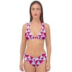 Triangle3 White Marble & Pink Leather Double Strap Halter Bikini Set