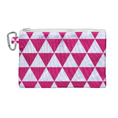 Triangle3 White Marble & Pink Leather Canvas Cosmetic Bag (large) by trendistuff