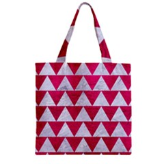 Triangle2 White Marble & Pink Leather Zipper Grocery Tote Bag