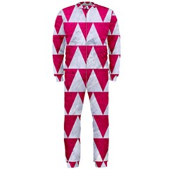 Triangle2 White Marble & Pink Leather Onepiece Jumpsuit (men)