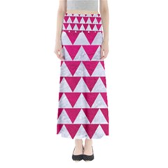 Triangle2 White Marble & Pink Leather Full Length Maxi Skirt