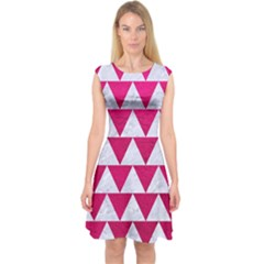 Triangle2 White Marble & Pink Leather Capsleeve Midi Dress