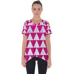 Triangle2 White Marble & Pink Leather Cut Out Side Drop Tee