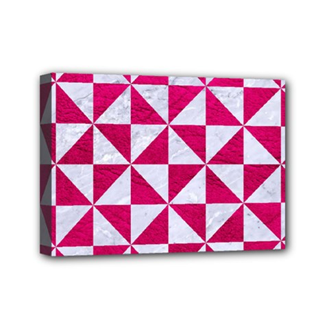 Triangle1 White Marble & Pink Leather Mini Canvas 7  X 5  by trendistuff