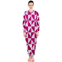 Triangle1 White Marble & Pink Leather Onepiece Jumpsuit (ladies)