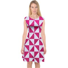 Triangle1 White Marble & Pink Leather Capsleeve Midi Dress
