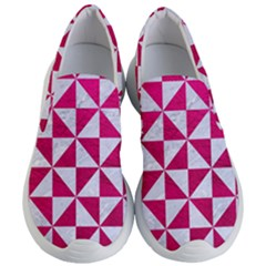 Triangle1 White Marble & Pink Leather Women s Lightweight Slip Ons