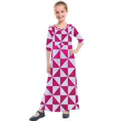 Triangle1 White Marble & Pink Leather Kids  Quarter Sleeve Maxi Dress