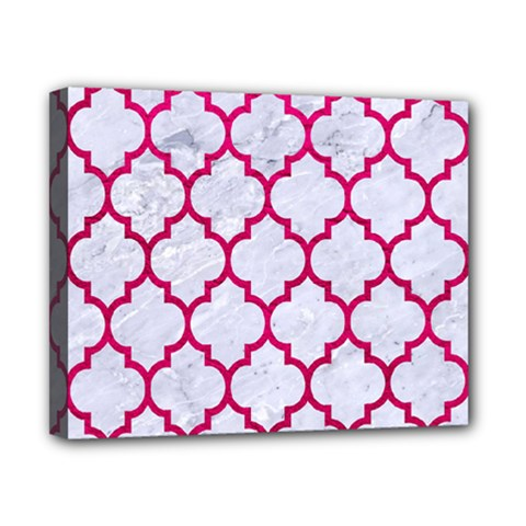 Tile1 White Marble & Pink Leather (r) Canvas 10  X 8