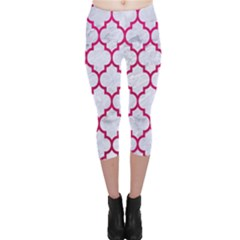 Tile1 White Marble & Pink Leather (r) Capri Leggings