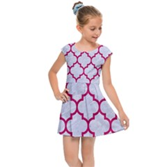 Tile1 White Marble & Pink Leather (r) Kids Cap Sleeve Dress