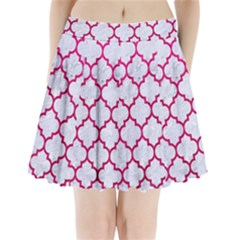 Tile1 White Marble & Pink Leather (r) Pleated Mini Skirt