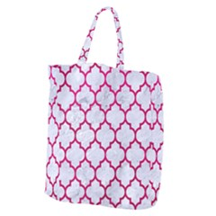 Tile1 White Marble & Pink Leather (r) Giant Grocery Zipper Tote by trendistuff