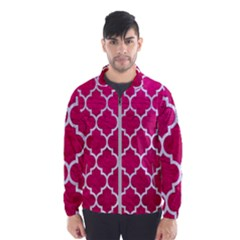 Tile1 White Marble & Pink Leather Windbreaker (men)