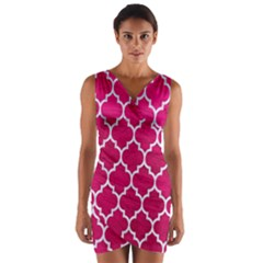 Tile1 White Marble & Pink Leather Wrap Front Bodycon Dress