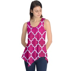 Tile1 White Marble & Pink Leather Sleeveless Tunic