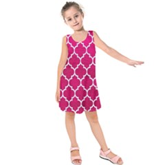 Tile1 White Marble & Pink Leather Kids  Sleeveless Dress