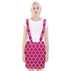 Tile1 White Marble & Pink Leather Braces Suspender Skirt