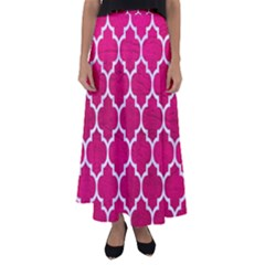 Tile1 White Marble & Pink Leather Flared Maxi Skirt